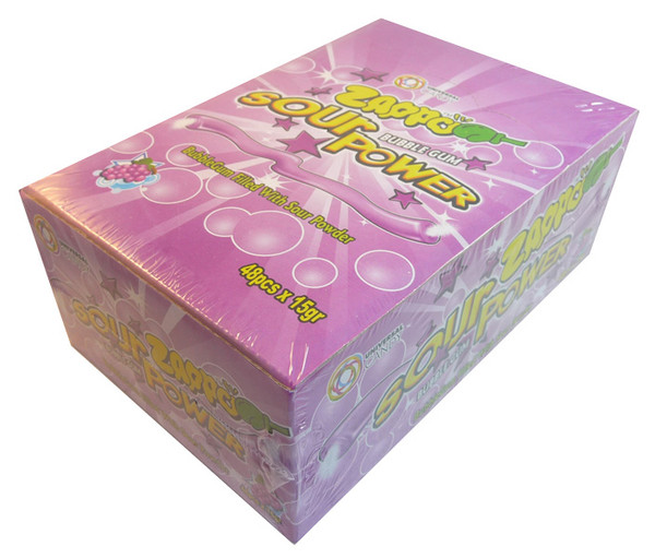 Zappo Sour Power Bubble Gum - Grape, by Crown Confectionery,  and more Confectionery at The Professors Online Lolly Shop. (Image Number :3399)