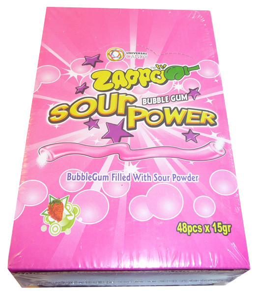 Zappo Sour Power Bubble Gum - Strawberry, by Crown Confectionery,  and more Confectionery at The Professors Online Lolly Shop. (Image Number :3398)
