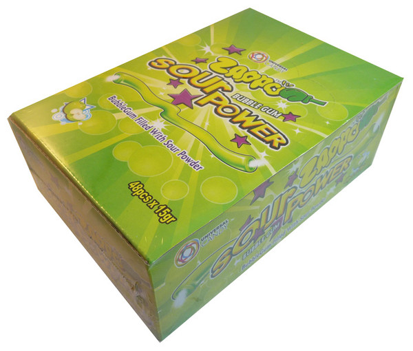 Zappo Sour Power Bubble Gum - Apple, by Crown Confectionery,  and more Confectionery at The Professors Online Lolly Shop. (Image Number :3395)