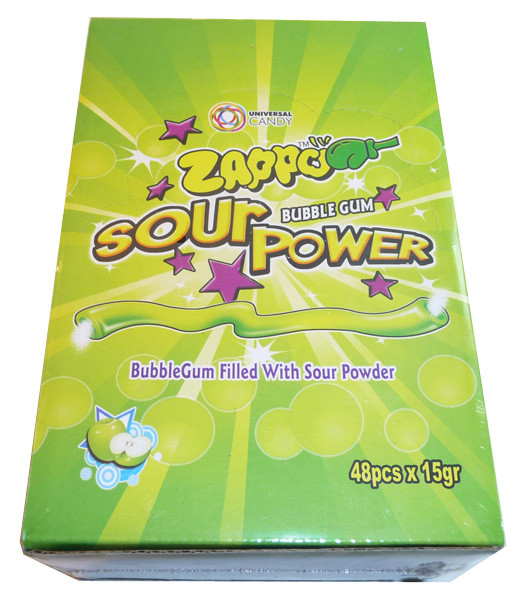 Zappo Sour Power Bubble Gum - Apple, by Crown Confectionery,  and more Confectionery at The Professors Online Lolly Shop. (Image Number :3396)