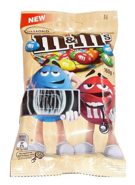 M&M Almond 160g bag, by Mars,  and more Confectionery at The Professors Online Lolly Shop. (Image Number :3551)