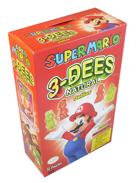 Super Mario 3-Dees Natural Jellies Apple / Strawberry, by Candy Brokers,  and more Confectionery at The Professors Online Lolly Shop. (Image Number :3630)