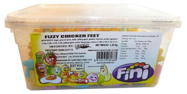 Fini Fizzy Chicken Feet, by Fini,  and more Confectionery at The Professors Online Lolly Shop. (Image Number :3536)