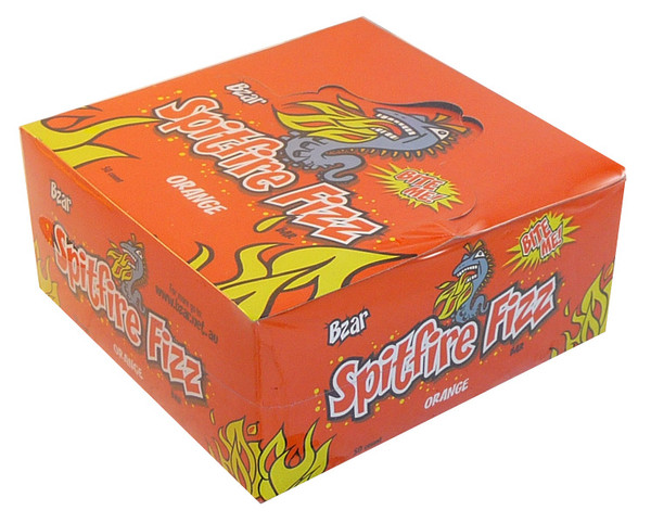 Bzar Spitfire Fizz Bar - Orange, by Candy Brokers,  and more Confectionery at The Professors Online Lolly Shop. (Image Number :3725)