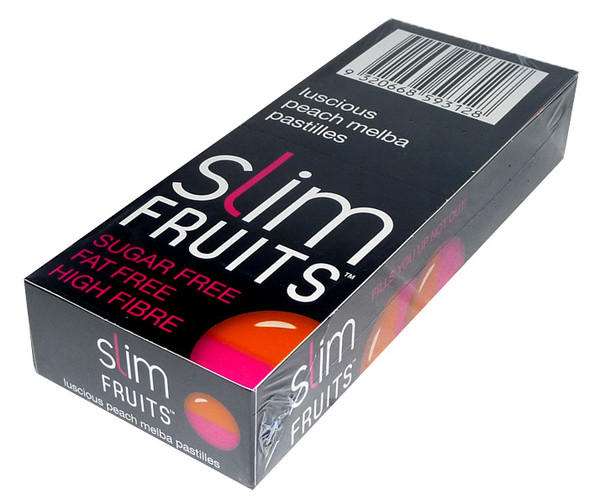 Slim Fruits - Luscious Peach Melba Pastilles, by Ferndale Confectionery/Slim Fruits,  and more Confectionery at The Professors Online Lolly Shop. (Image Number :3724)