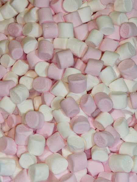 Betta Mini Pink and White Marshmallows, by Betta Foods,  and more Confectionery at The Professors Online Lolly Shop. (Image Number :3710)
