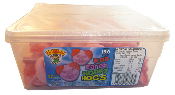 Gummini Red Eared Honky Hogs, by AIT Confectionery,  and more Confectionery at The Professors Online Lolly Shop. (Image Number :3623)