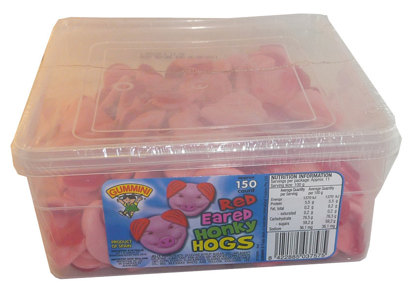 Gummini Red Eared Honky Hogs, by AIT Confectionery,  and more Confectionery at The Professors Online Lolly Shop. (Image Number :3685)