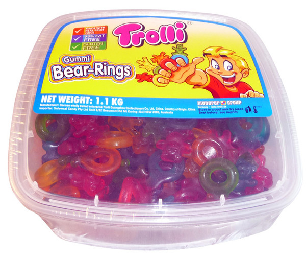 Trolli Gummi Bear Rings Tub, by Trolli,  and more Confectionery at The Professors Online Lolly Shop. (Image Number :4121)