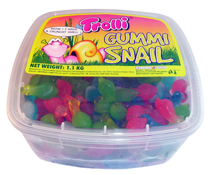 Trolli Gummi Snail Tub, by Trolli,  and more Confectionery at The Professors Online Lolly Shop. (Image Number :4128)
