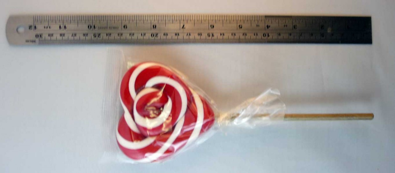 Heart Shaped Lollipop - Red and White, by Designer Candy/Other,  and more Confectionery at The Professors Online Lolly Shop. (Image Number :3802)