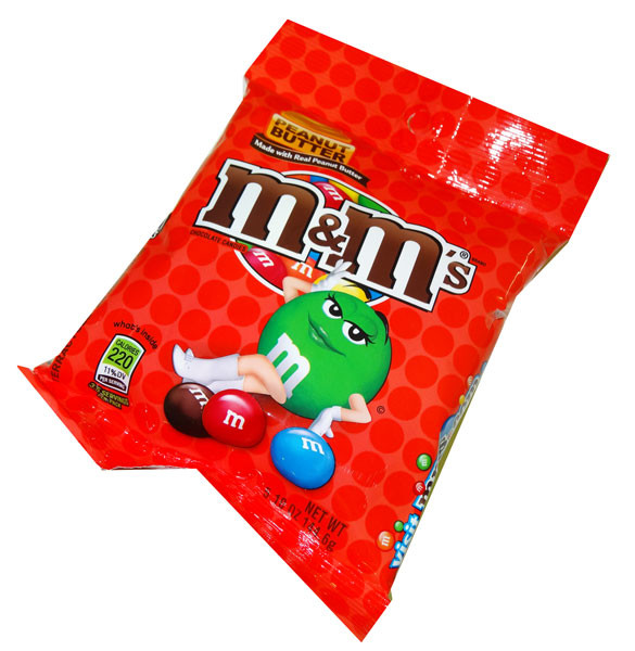M&M - Peanut Butter Chocolate Candies - Peg Bag, by Mars,  and more Confectionery at The Professors Online Lolly Shop. (Image Number :4616)