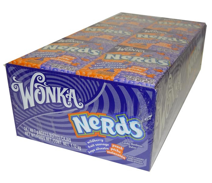 Willy Wonka Nerds - Wild Berry and Peach, by Wonka,  and more Confectionery at The Professors Online Lolly Shop. (Image Number :4637)