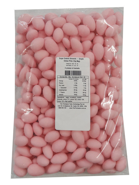 Sugar Coated Almonds - Single Colour Pink, by Confectionery House,  and more Confectionery at The Professors Online Lolly Shop. (Image Number :8806)