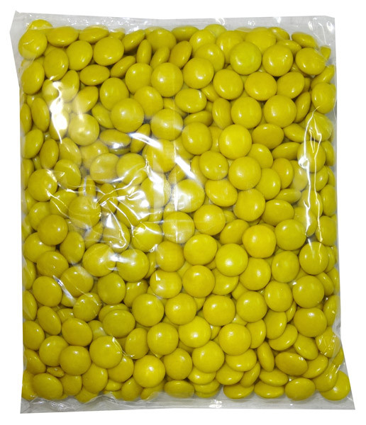 Choc Drops - Yellow Single Colour Smarties clones, by Confectionery House,  and more Confectionery at The Professors Online Lolly Shop. (Image Number :8299)