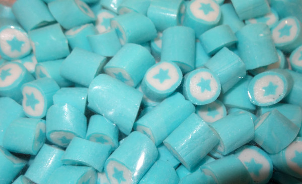 Rock Candy - Light Blue and White - Star Center, by Designer Candy,  and more Confectionery at The Professors Online Lolly Shop. (Image Number :4619)