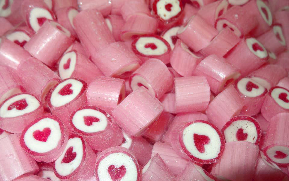 Rock Candy - Pink and White - Heart Center, by Designer Candy,  and more Confectionery at The Professors Online Lolly Shop. (Image Number :9100)