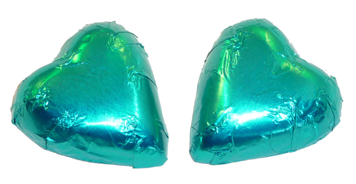 Chocolate Gems - Chocolate Hearts - Teal Foil, by Chocolate Gems,  and more Confectionery at The Professors Online Lolly Shop. (Image Number :4234)
