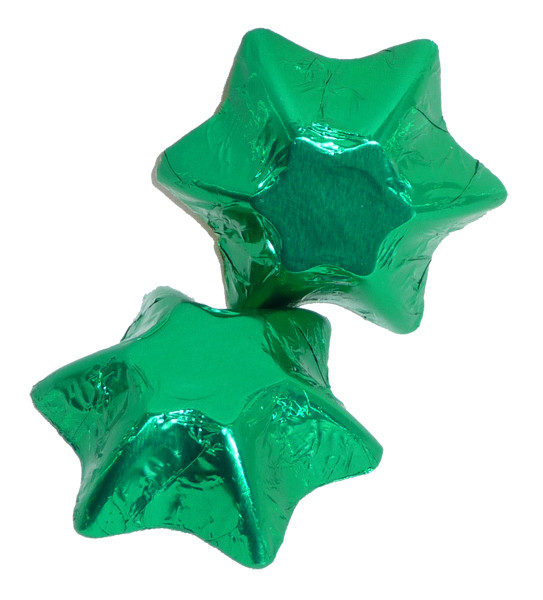 Chocolate Gems - Chocolate Stars - Green Foil, by Chocolate Gems,  and more Confectionery at The Professors Online Lolly Shop. (Image Number :4257)