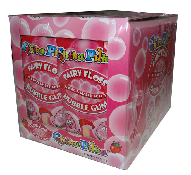Chika Puka - Fairy Floss Gum -  strawberry flavour, by Candy Brokers,  and more Confectionery at The Professors Online Lolly Shop. (Image Number :4648)