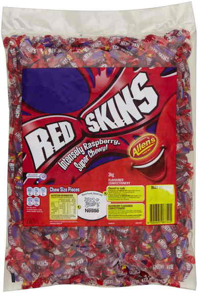 Allens Red Skins Mini Chews, by Wonka,  and more Confectionery at The Professors Online Lolly Shop. (Image Number :6621)