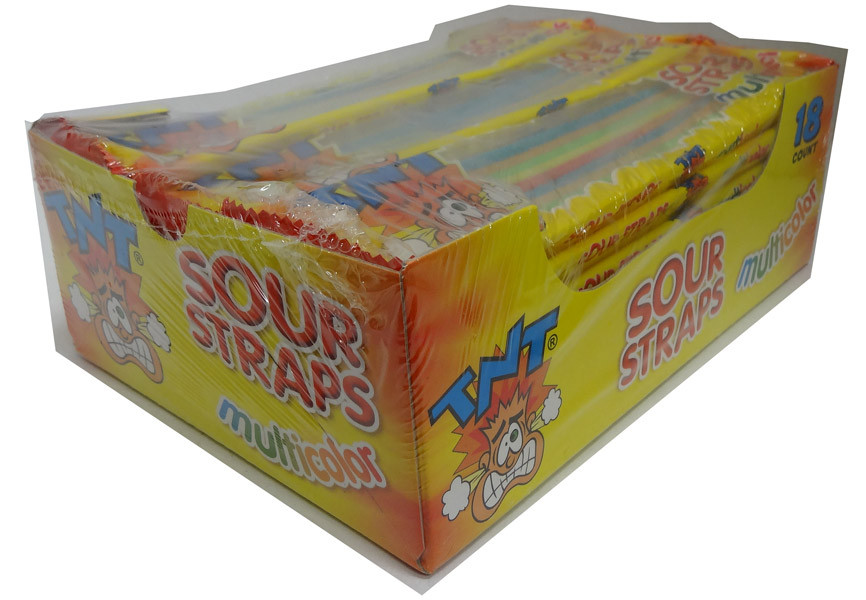 TNT Sour Straps Multicolour Packs, by AIT Confectionery/TNT,  and more Confectionery at The Professors Online Lolly Shop. (Image Number :4458)