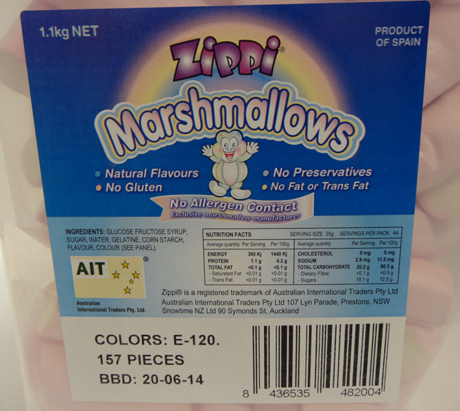 Zippi Marshmallows, by AIT Confectionery,  and more Confectionery at The Professors Online Lolly Shop. (Image Number :4407)