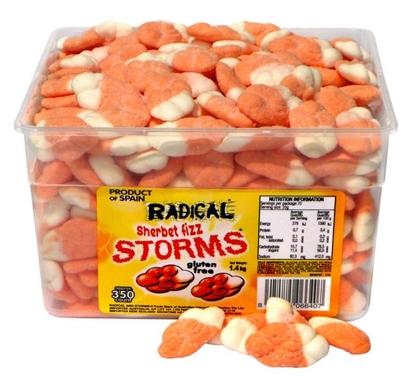 Radical Storms - Sherbet Fizz, by AIT Confectionery,  and more Confectionery at The Professors Online Lolly Shop. (Image Number :4659)
