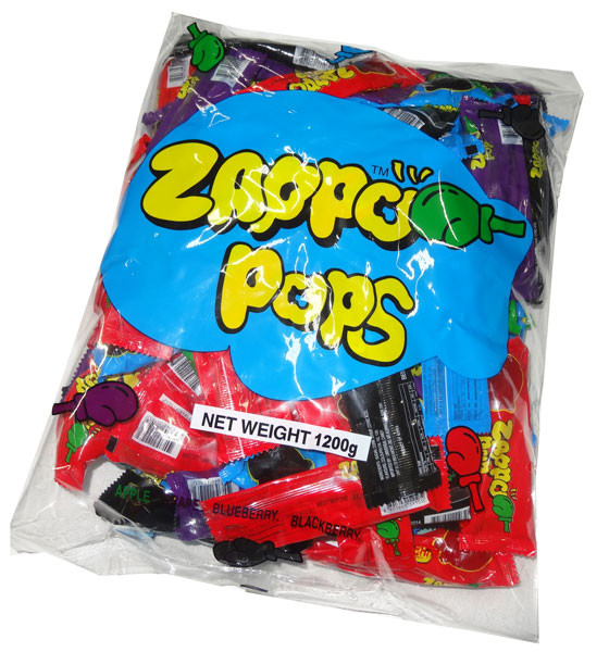 Zappo Pops, by Zappo,  and more Confectionery at The Professors Online Lolly Shop. (Image Number :4791)