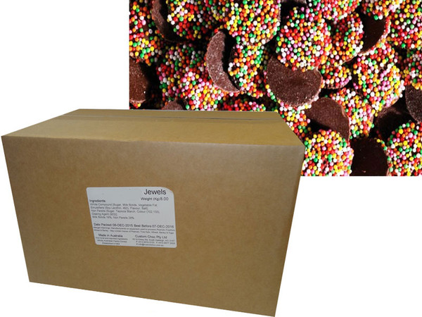 Custom Choc - Choc Jewels with Multi-Coloured Speckles, by Confectionery Trading Company,  and more Confectionery at The Professors Online Lolly Shop. (Image Number :9647)