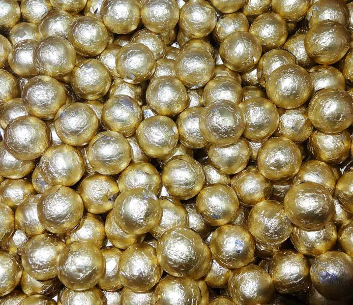 Foiled Milk Choc Gold Balls, by Confectionery Trading Company/Niagara,  and more Confectionery at The Professors Online Lolly Shop. (Image Number :5067)