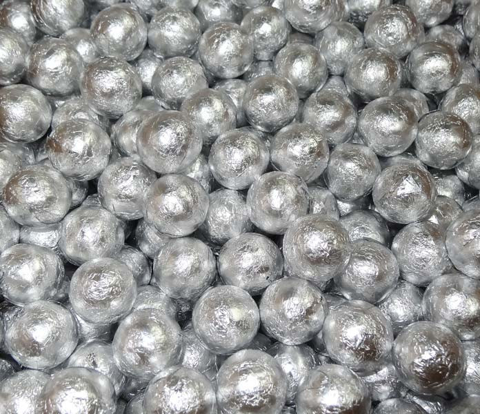 Foiled Milk Choc Silver Balls, by Confectionery Trading Company/Niagara,  and more Confectionery at The Professors Online Lolly Shop. (Image Number :5068)