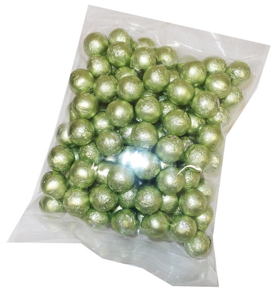 Foiled Milk Choc Leaf Green Balls, by Confectionery Trading Company/Niagara,  and more Confectionery at The Professors Online Lolly Shop. (Image Number :5112)