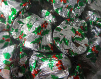 Chocolate Gems - Chocolate Bells - Holly, by Chocolate Gems,  and more Confectionery at The Professors Online Lolly Shop. (Image Number :5574)