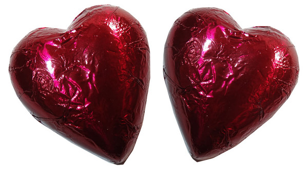 Chocolate Gems - Chocolate Hearts - Burgundy Foil, by Chocolate Gems,  and more Confectionery at The Professors Online Lolly Shop. (Image Number :6430)