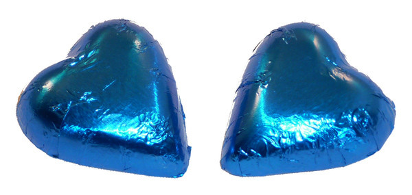 Chocolate Gems - Chocolate Hearts - Electric Blue Foil, by Chocolate Gems,  and more Confectionery at The Professors Online Lolly Shop. (Image Number :6732)