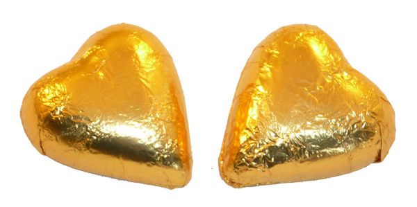 Chocolate Gems - Chocolate Hearts - Gold Foil, by Chocolate Gems,  and more Confectionery at The Professors Online Lolly Shop. (Image Number :5094)