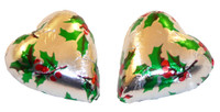 Chocolate Gems - Chocolate Hearts - Holly Foil, by Chocolate Gems,  and more Confectionery at The Professors Online Lolly Shop. (Image Number :5096)