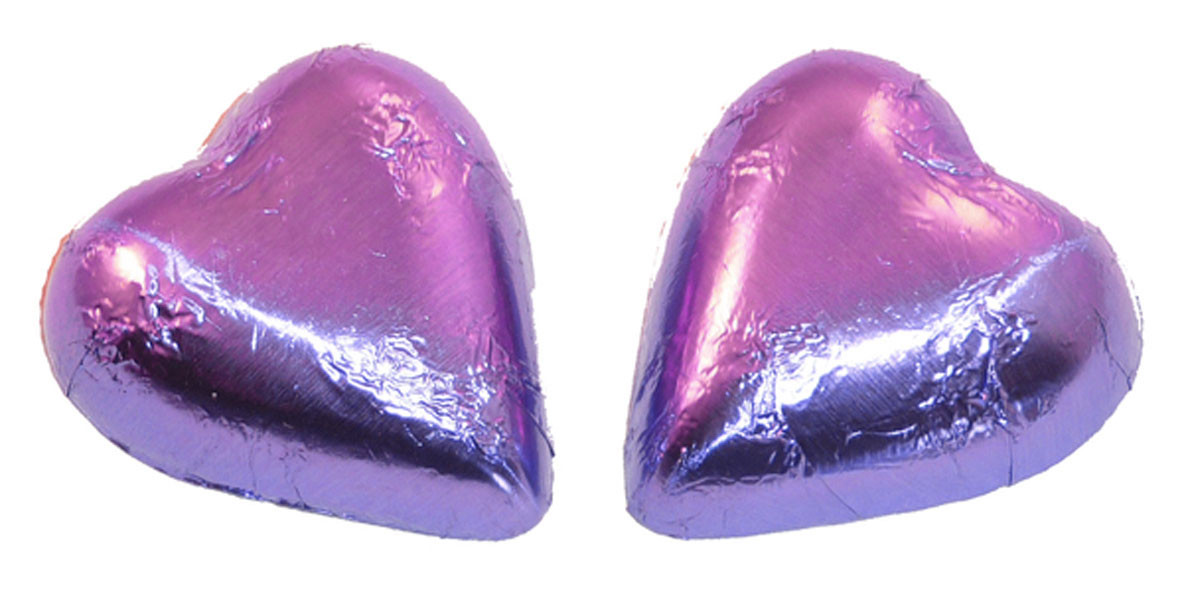 Chocolate Gems - Chocolate Hearts - Mauve Foil, by Chocolate Gems,  and more Confectionery at The Professors Online Lolly Shop. (Image Number :6978)