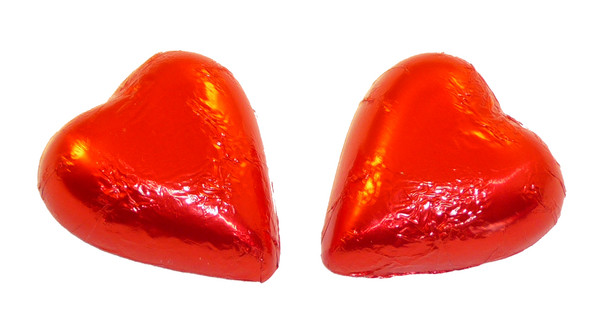 Chocolate Gems - Chocolate Hearts - Red Foil, by Chocolate Gems,  and more Confectionery at The Professors Online Lolly Shop. (Image Number :5125)
