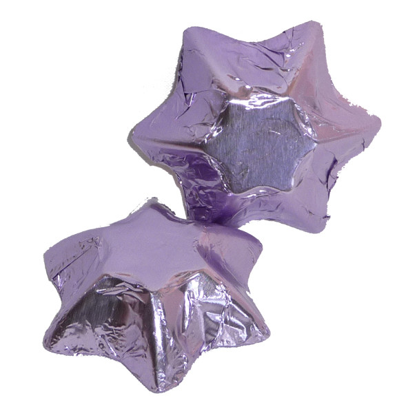 Chocolate Gems - Chocolate Stars - Lilac Foil, by Chocolate Gems,  and more Confectionery at The Professors Online Lolly Shop. (Image Number :5139)