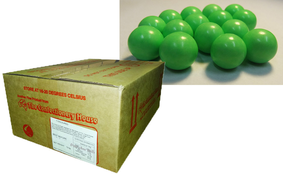 Fruit Choc Balls - Lime Green, by Confectionery House,  and more Confectionery at The Professors Online Lolly Shop. (Image Number :9499)