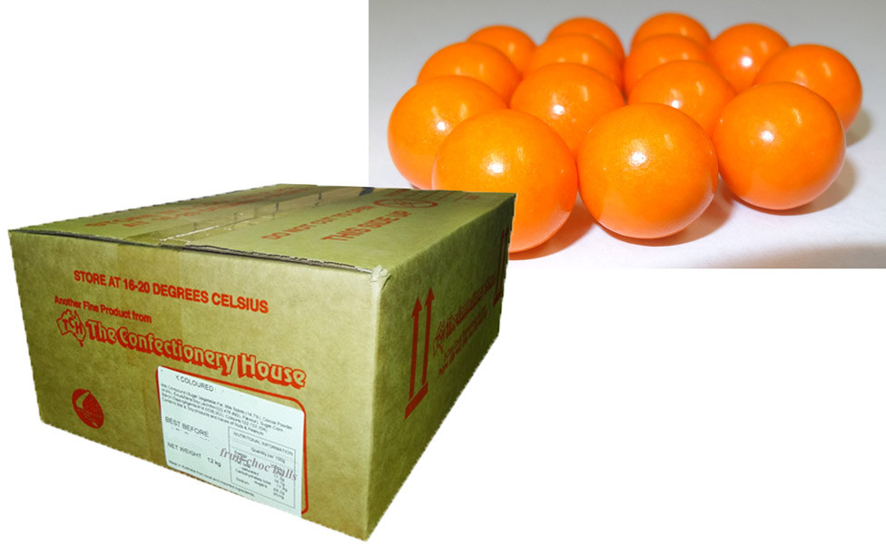 Fruit Choc Balls - Orange, by Confectionery House,  and more Confectionery at The Professors Online Lolly Shop. (Image Number :9447)