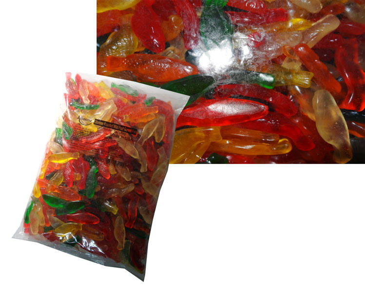 Gummi Fish Assorted Fruit, by Albanese Confectionery,  and more Confectionery at The Professors Online Lolly Shop. (Image Number :6178)