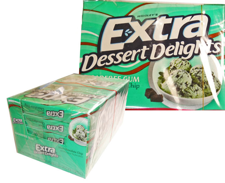 Extra Dessert Delights Mint Choc Chip, by Wrigley,  and more Confectionery at The Professors Online Lolly Shop. (Image Number :6444)