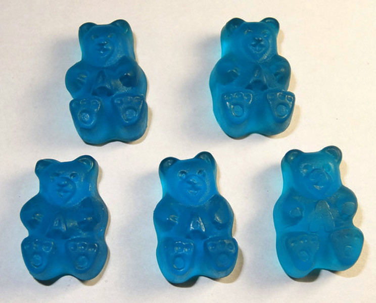 Gummi Bears Rockin  Blue Raspberry, by Albanese Confectionery/Other,  and more Confectionery at The Professors Online Lolly Shop. (Image Number :7636)