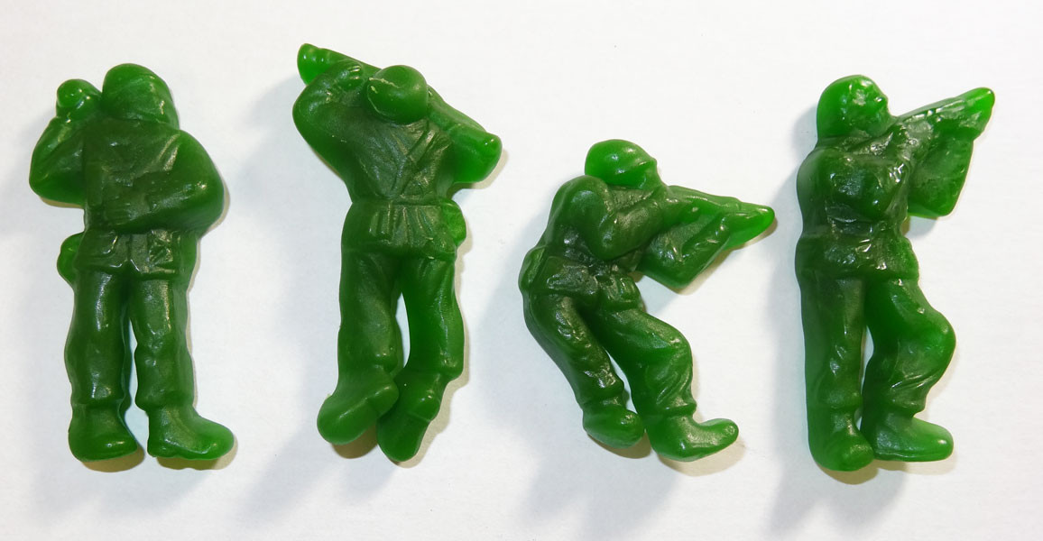 Gummi Green Army Guys, by Albanese Confectionery/Other,  and more Confectionery at The Professors Online Lolly Shop. (Image Number :5279)