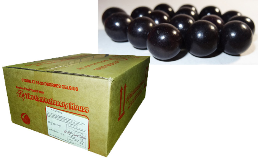 Fruit Choc Balls - Blackcurrant Black, by Confectionery House,  and more Confectionery at The Professors Online Lolly Shop. (Image Number :9444)