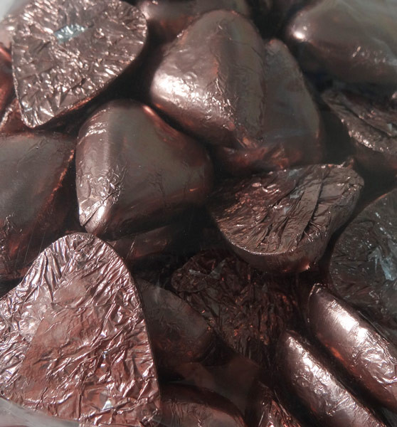 Chocolate Gems - Chocolate Hearts - Mocha Foil, by Chocolate Gems,  and more Confectionery at The Professors Online Lolly Shop. (Image Number :6098)