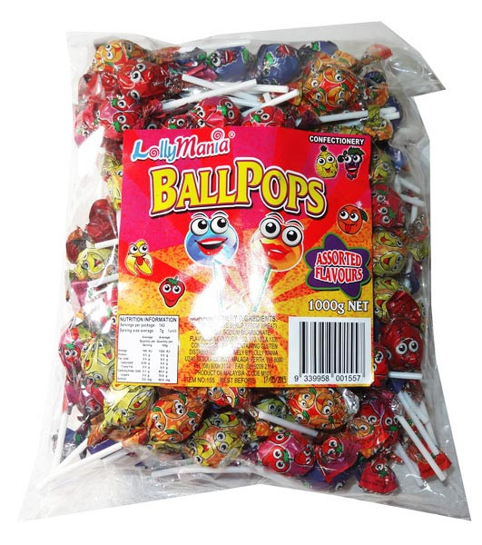 Lolly Mania Ball Pops, by Tasty Treats,  and more Confectionery at The Professors Online Lolly Shop. (Image Number :5545)